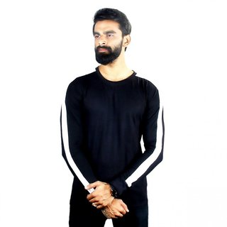 The Royal Swag Men's Cotton Full Sleeve T-Shirt - Solid Black Side Panel