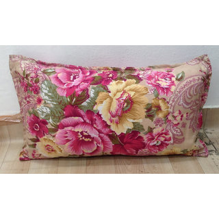 Cream Floral Printed Pillow Cover Set of 2 by Azaani