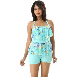 Notable  Swim Sexy Multi Blue Color Two Piece Boyleg Tankini-Beach Wear
