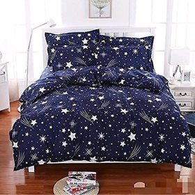 craftwell star printed on blue 3d double bedsheet with2 pillow covers
