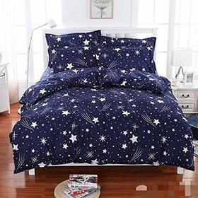 Star 3D Printed Double Polycotton Bedsheet With 2 Pillow Covers (Blue) By Craftwell