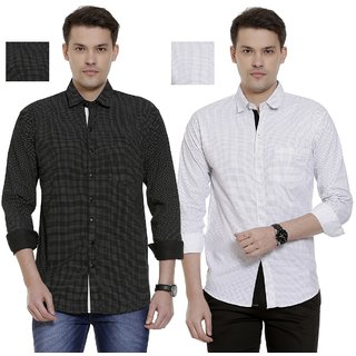 Fashlook Men's Dotted White And Dotted Black Shirts