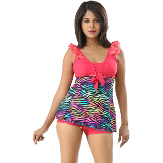 Trendy And Glorious Swim Sexy Multi Color Ruffled Two Piece Skirted Tankini-Beach Wear