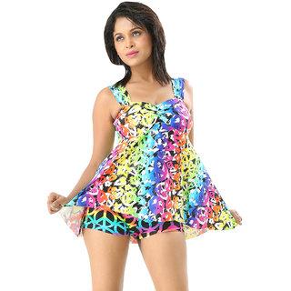 Elegant And Fabulous Swim Sexy Multi Color  Two Piece Skirted Tankini-Beach Wear