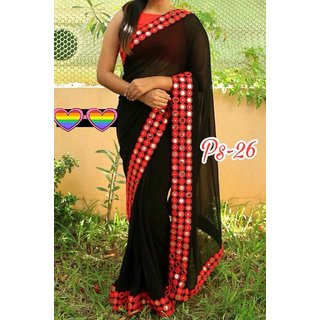 shiwaye black georgette saree with blouse piece (blackred102)