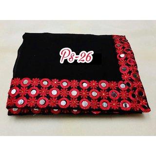 shiwaye designer black georgette saree with red blouse piece saree (blackred103)