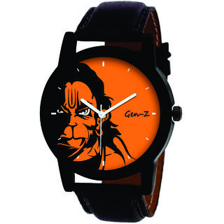 Gen-Z dial Round Dial Black Leather Strap Analog Watch for Men