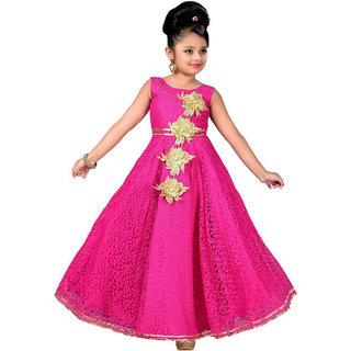 KBKIDSWEAR Girl's Satin Net Round Neck Party Wear Ball Gown