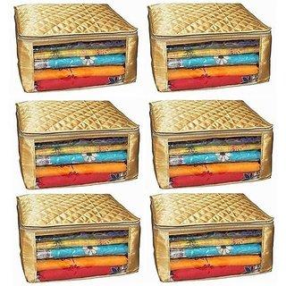 ADWITIYA Set of 6 - Plain Large Satin Saree Salwar Suit Shirt Jeans Garment Cloth Cover Case - Gold
