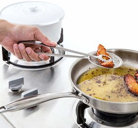 Multi-Functional 2 In 1 Fry Tool Filter Spoon Strainer With Clip,Oil Frying Bbq Filter Stainless Steel Mesh Strainer Kit
