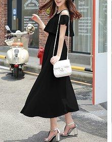 KF-0023 Westchic AVA BLACK COLD SHOULDER Long Dress