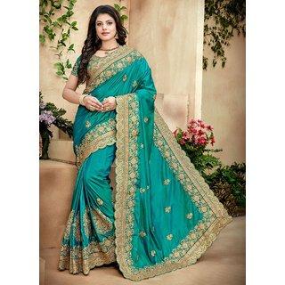 Designer Bahu Green Paper Silk Saree