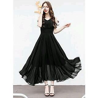 KF-0043 Westchic ZOE BLACK V-NECK Long Dress