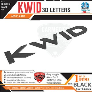 Kwid 3d Letters for Renault Kwid  Glossy Black kwid accessories 3d sticlers logo emblem