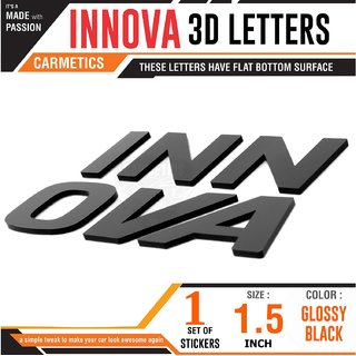 CarMetics INNOVA 3D Letters for Toyota Innova - Glossy Black Car 3d Sticker 3d Emblem Accessories 3D  Decal