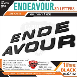 CarMetics Ford Endeavour 3D Letters - Glossy Black - Car 3D Letters Stickers Logo Emblem Accessories