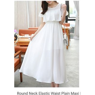 KF-0009 Westchic AVA WHITE COLD SHOULDER Long Dress