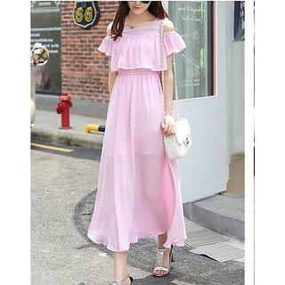 KF-0019 Westchic AVA PINK COLD SHOULDER Long Dress