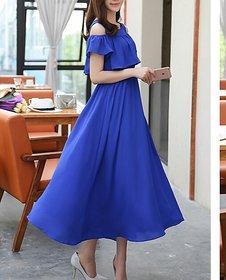 KF-0026 Westchic AVA ROYAL BLUE COLD SHOULDER Long Dress