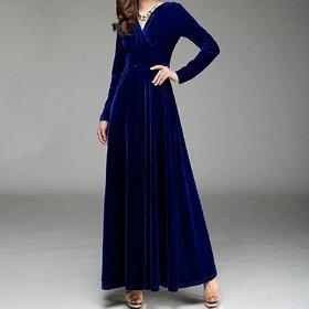 Code Yellow Women's Royal Blue Velvet V-Neck Long Winter Dress