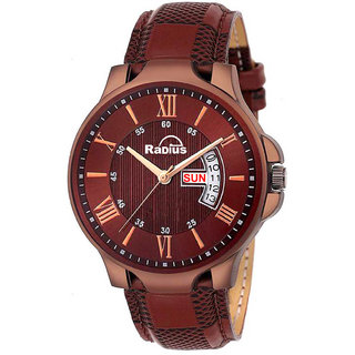 Radius Brown Strap Round Dial Analog Watch for Men