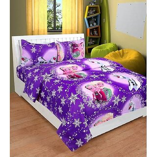 KIDS CARTOON FROZEN SISTERS DOUBLE BEDSHEET WITH 2 PILLOW COVER
