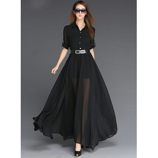 dff44e052149 Buy Code Yellow Women s Black Collar with Belt Long Dress Online ...