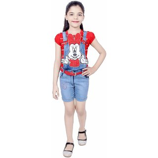 KBKIDSWEAR Girl's Denim and Cotton Round Neck Top with Dungaree Set