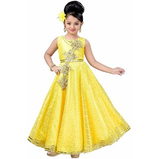 KBKIDSWEAR Girl's Satin Net Round Neck Party Wear Ball Gown