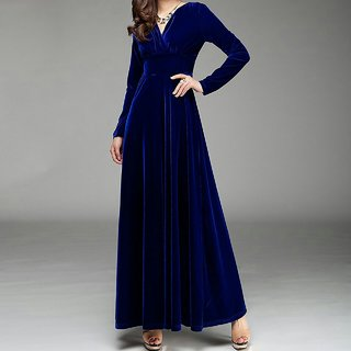 Code Yellow Women's Royal Blue Velvet V-Neck Long Winter Dress