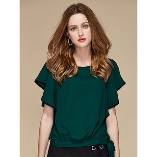 KF-0039 Westchic GREEN Butterfly Sleeve Tie Side TOP