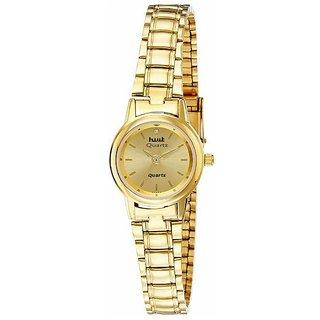 HWT Round Dial Gold Metal Analog Watch For Women