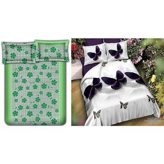 Bhawna Green Frooti  Buterfly Combo Double Bedsheet Pack Of 2