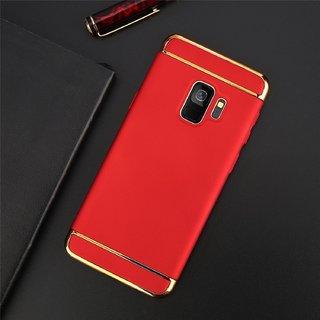 Kartik Luxury 3-in-1 Slim Fit 360 Protection Hybrid Hard Bumper Back Case Cover Samsung Galaxy J6 2018 (Red  Golden)