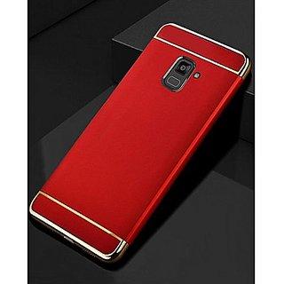 Kartik Luxury 3-in-1 Slim Fit 360 Protection Hybrid Hard Bumper Back Case Cover for Samsung Galaxy J8 (Red  Golden)