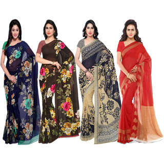 20c7e3b1f5 Anand Sarees Multicolor Faux Georgette Printed Saree With Blouse ( Pack of  4 sarees)
