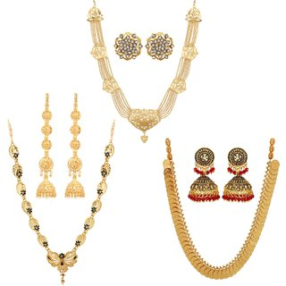 Buy Gold Plated Bollywood South Indian Combo of Wedding Jewellery by GoldNera Online - Get 77% Off