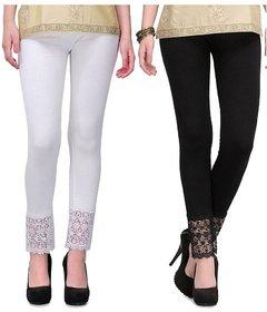 Pixie Designer Bottom Lace Leggings (White, Black) - Free Size