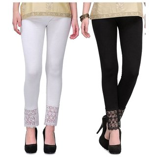Pixie Designer Bottom Lace Leggings (White, Black) - Free Size