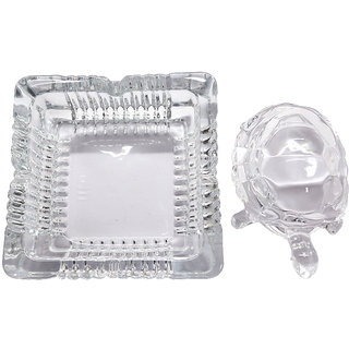 Jyotirvid Crystal Turtle Tortoise with Plate for vastu and Feng Shui