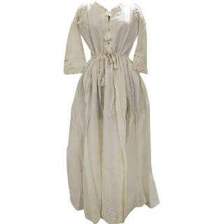 Posh Living Womens Cotton Chiken Embroider Kurti Round Gown Style 3/4 Sleeve