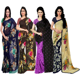 Anand Sarees Multicolor Faux Georgette Printed Saree With Blouse ( Pack of 4 sarees)