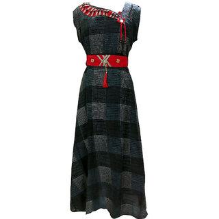 Posh Living Womens Rayon Kurti Round Neck Anarkali 3/4 Sleeve