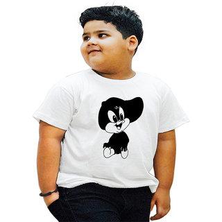 HEYUZE 100 Cotton Printed White Half Sleeve Kids Boys Round Neck T Shirt With Cartoon Design
