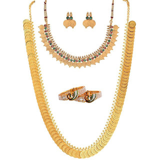 Bhagya Lakshmi Women's Pride Gold Plated Antique Bracelet With Temple Coin Necklace For Women
