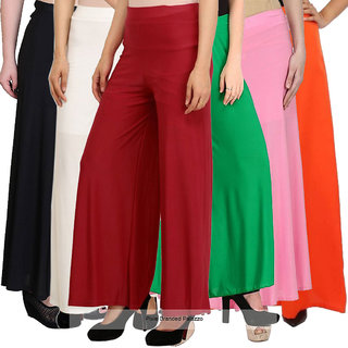 Pixie's Stylish Casual Wear Pant Palazzo Combo (Pack of 6) Black, White, Maroon, Green, BabyP and Orange - Free Size