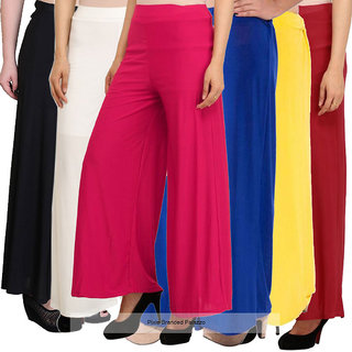 Pixie's Stylish Casual Wear Pant Palazzo Combo (Pack of 6) Black, White, Pink, Blue, Yellow and Maroon - Free Size