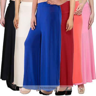 Pixie's Stylish Casual Wear Pant Palazzo Combo (Pack of 6) Black, White, Blue, Maroon, Orange and Baby Pink - Free Size