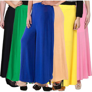 Pixie's Stylish Casual Wear Malai Lycra Pant Palazzo Combo (Pack of 6) Black, Green, Blue, Beige, Yellow and Baby Pink- Free Size