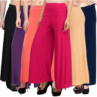 Pixie's Stylish Casual Wear Malai Lycra Pant Palazzo Combo (Pack of 6) Black, Peach, Purple, Pink, Beige and Navy Blue - Free Size